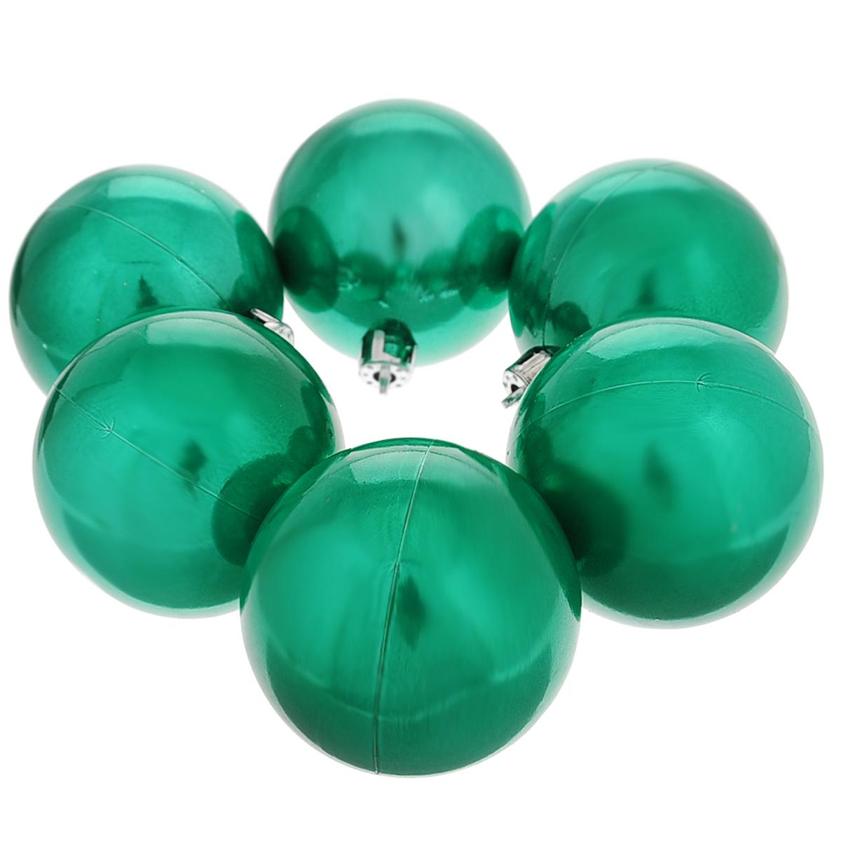 """Набор новогодних подвесных украшений """"Шар"""", цвет: бирюзовый, диаметр 6 см, 6 шт. 35526"""