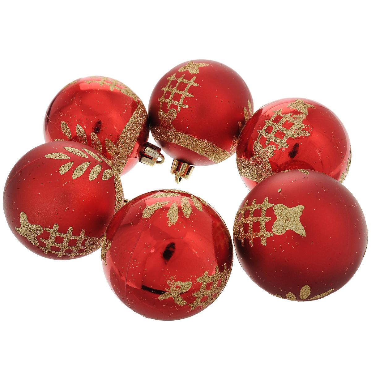 """Набор новогодних подвесных украшений """"Шар"""", цвет: золотистый, красный, диаметр 6 см, 6 шт. 35513"""