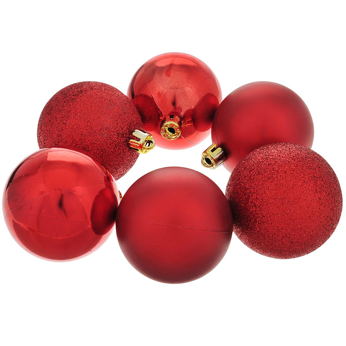 Набор новогодних подвесных украшений Шар, цвет: красный, диаметр 6 см, 6 шт. 3547435474Набор новогодних подвесных украшений Шар прекрасно подойдет для праздничного декора новогодней ели. Состоит из шести шаров.Елочная игрушка - символ Нового года. Она несет в себе волшебство и красоту праздника. Создайте в своем доме атмосферу веселья и радости, украшая новогоднюю елку нарядными игрушками, которые будут из года в год накапливать теплоту воспоминаний. Коллекция декоративных украшений принесет в ваш дом ни с чем несравнимое ощущение волшебства! Откройте для себя удивительный мир сказок и грез. Почувствуйте волшебные минуты ожидания праздника, создайте новогоднее настроение вашим дорогим и близким.