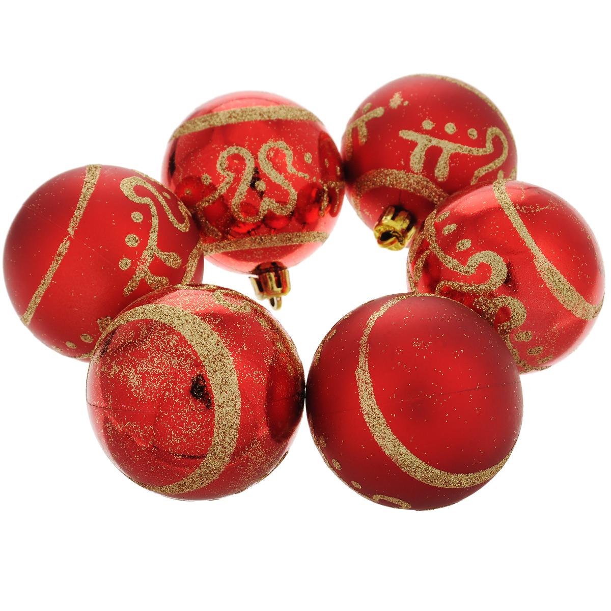 """Набор новогодних подвесных украшений """"Шар"""", цвет: золотистый, красный, диаметр 6 см, 6 шт. 35494"""
