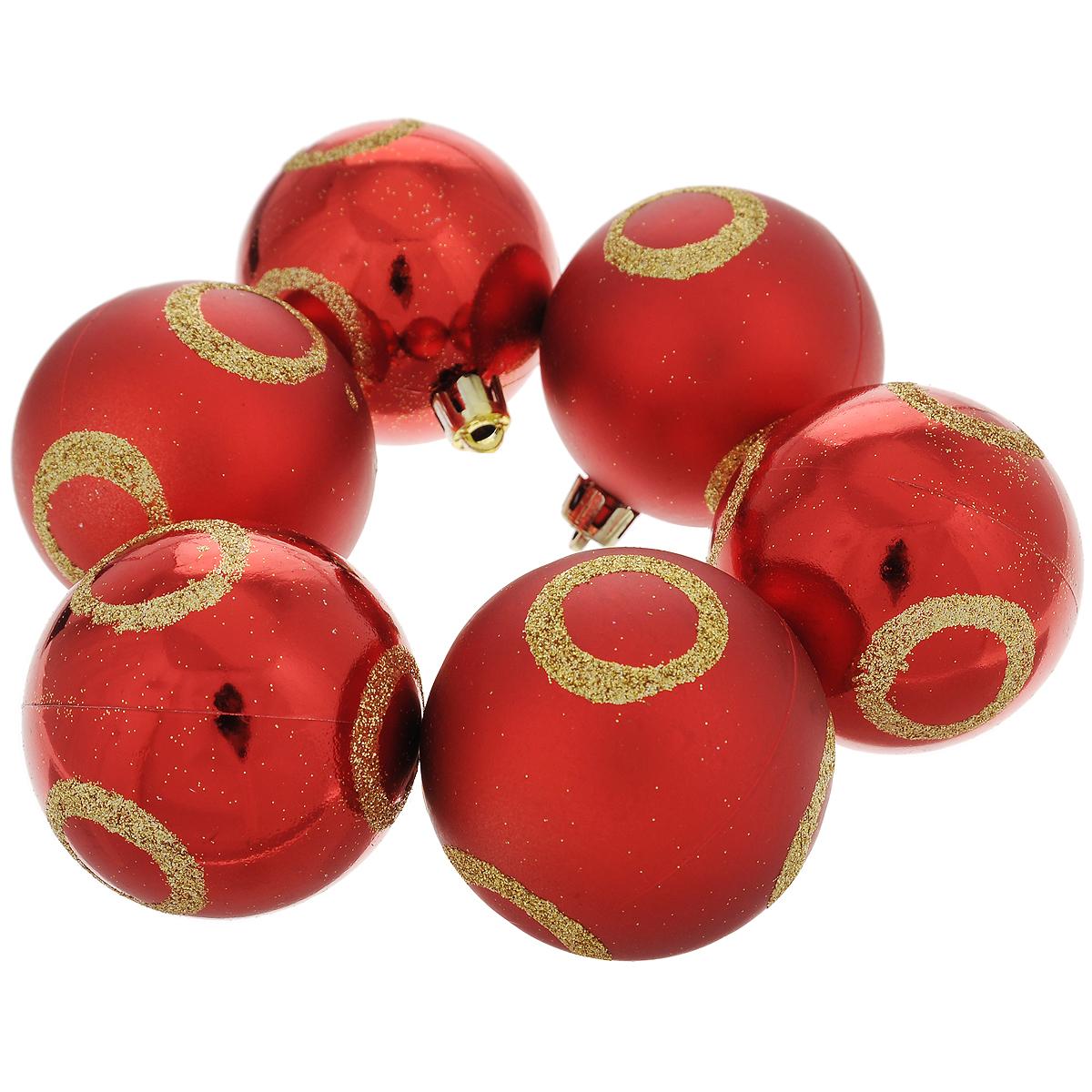 Набор новогодних подвесных украшений Шар, цвет: золотистый, красный, диаметр 6 см, 6 шт. 3550035500Набор новогодних подвесных украшений Шар прекрасно подойдет для праздничного декора новогодней ели. Состоит из шести шаров.Елочная игрушка - символ Нового года. Она несет в себе волшебство и красоту праздника. Создайте в своем доме атмосферу веселья и радости, украшая новогоднюю елку нарядными игрушками, которые будут из года в год накапливать теплоту воспоминаний. Коллекция декоративных украшений принесет в ваш дом ни с чем несравнимое ощущение волшебства! Откройте для себя удивительный мир сказок и грез. Почувствуйте волшебные минуты ожидания праздника, создайте новогоднее настроение вашим дорогим и близким.