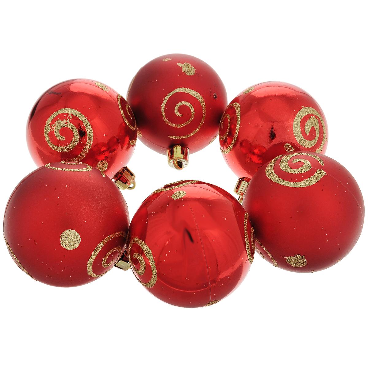 """Набор новогодних подвесных украшений """"Шар"""", цвет: золотистый, красный, диаметр 6 см, 6 шт. 35501"""