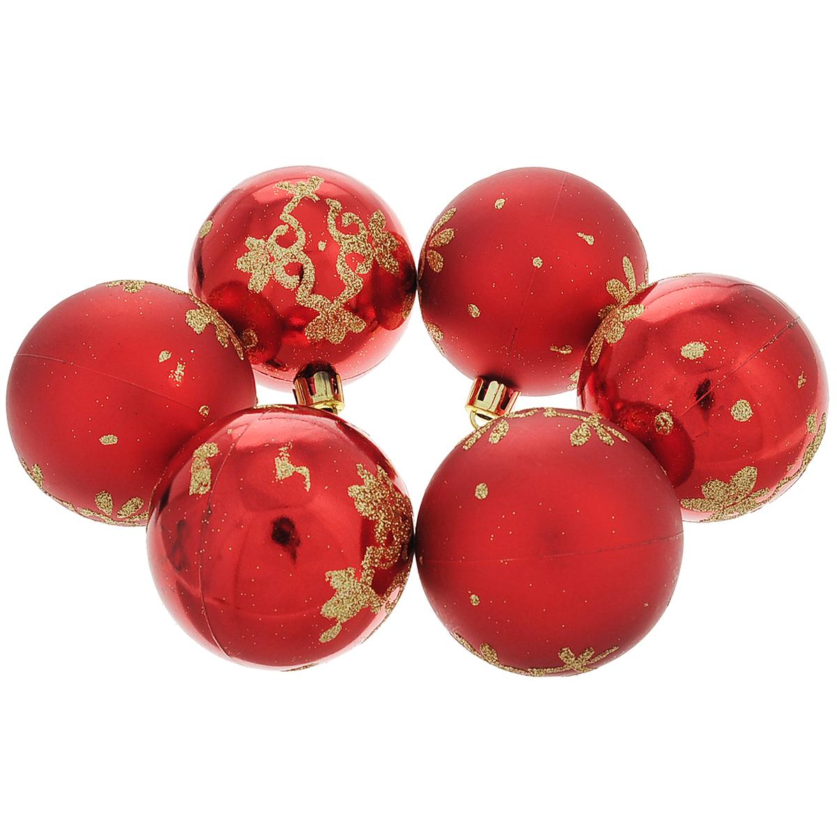 """Набор новогодних подвесных украшений """"Шар"""", цвет: золотистый, красный, диаметр 6 см, 6 шт. 35496"""