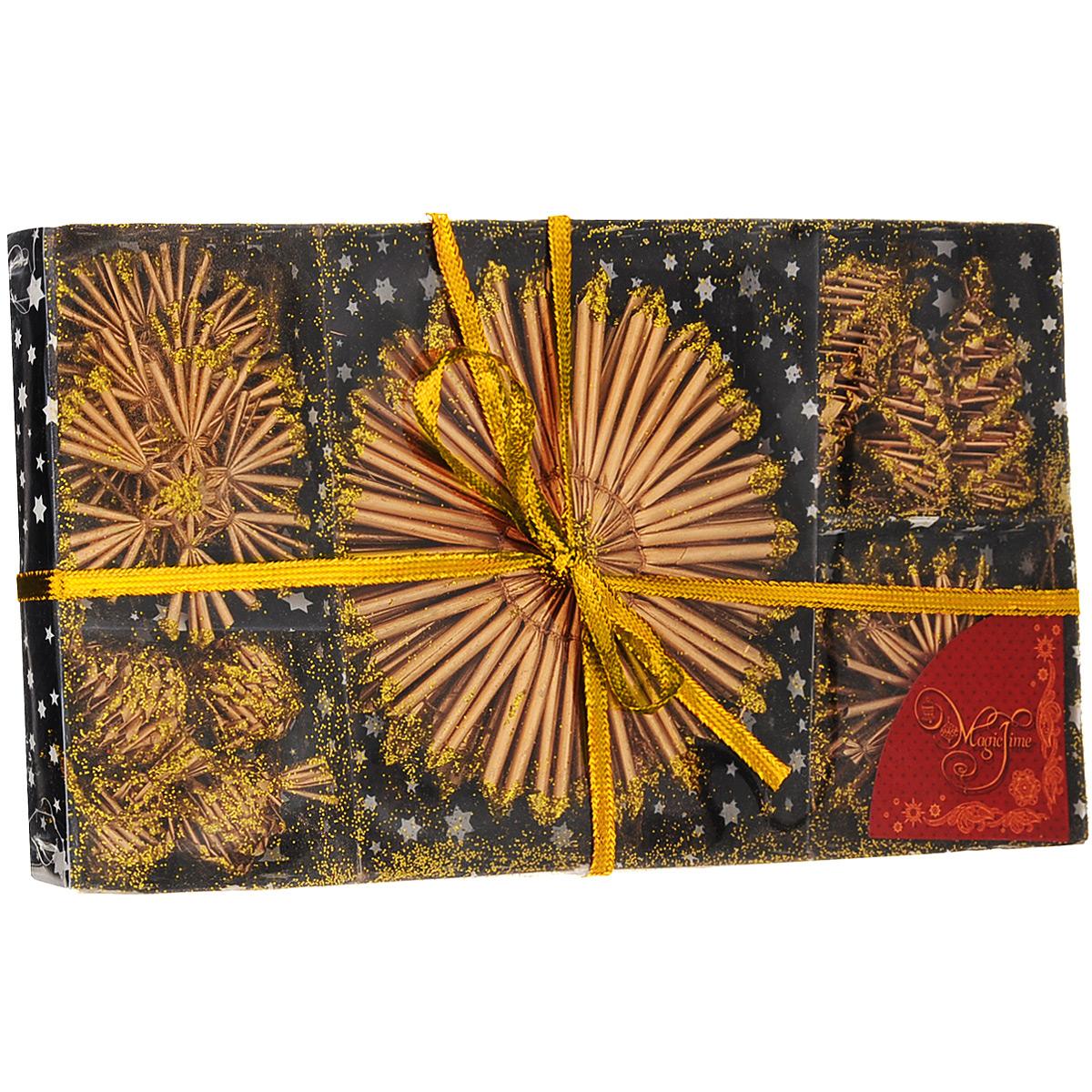 Набор новогодних подвесных украшений Magic Time, цвет: золотой, 18 шт. 3468434684Набор новогодних подвесных украшений Magic Time, изготовленный из соломки, украсит интерьер вашего дома или офиса в преддверии Нового года. Оригинальный дизайн и красочное исполнение создадут праздничное настроение. Набор состоит из 18 фигурок снежинок и шишек, украшенных золотистыми блестками. Украшения отлично подойдут для декорации вашего дома и новогодней ели. Игрушки оснащены специальными петлями для подвешивания.Елочная игрушка - символ Нового года. Она несет в себе волшебство и красоту праздника. Создайте в своем доме атмосферу веселья и радости, украшая всей семьей новогоднюю елку нарядными игрушками, которые будут из года в год накапливать теплоту воспоминаний. Коллекция декоративных украшений из серии Magic Time принесет в ваш дом ни с чем не сравнимое ощущение волшебства!