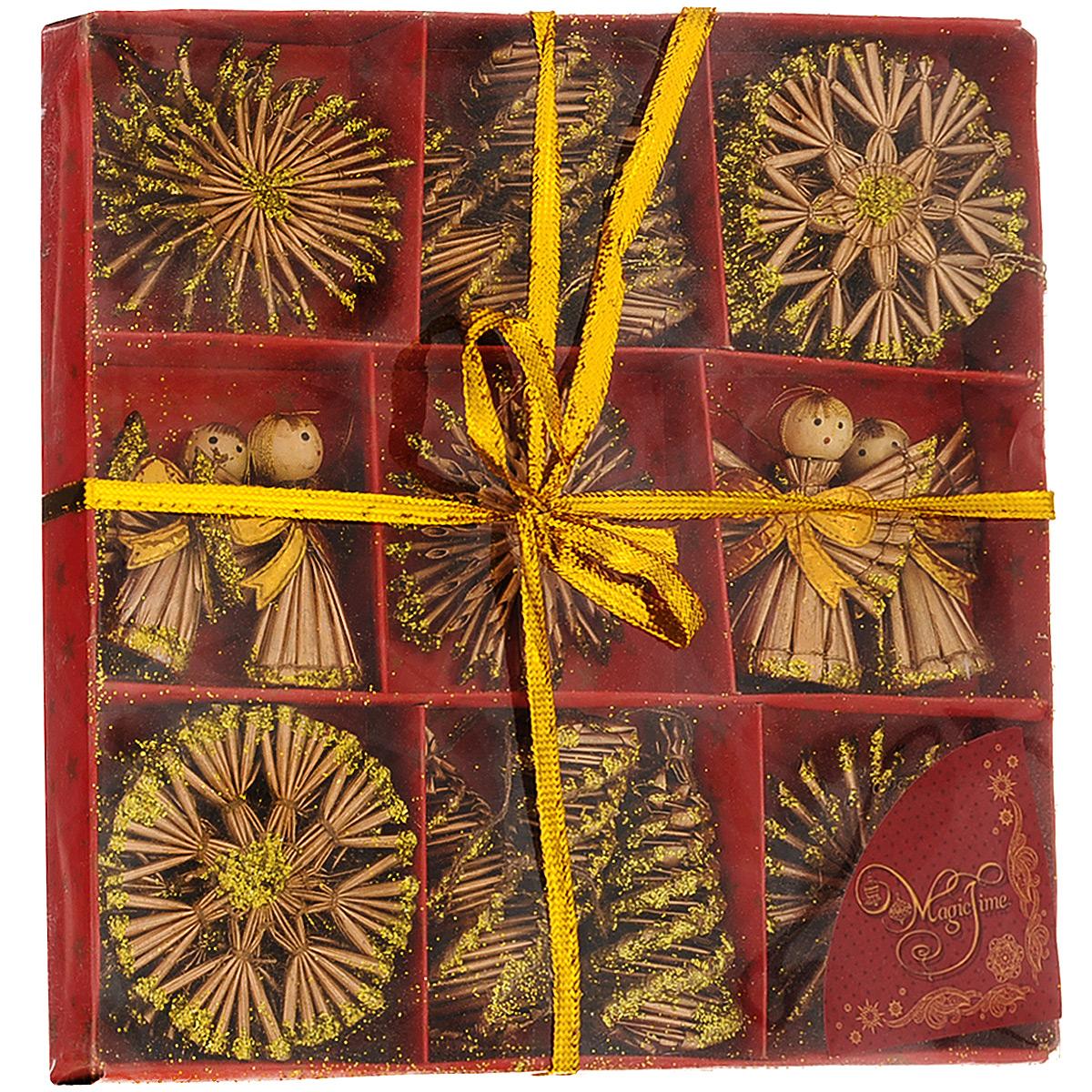 Набор новогодних подвесных украшений Magic Time, цвет: золотой, 25 шт. 3468234682Набор новогодних подвесных украшений Magic Time, изготовленный из соломки, украсит интерьер вашего дома или офиса в преддверии Нового года. Оригинальный дизайн и красочное исполнение создадут праздничное настроение. Набор состоит из 25 фигурок снежинок, ангелов и шишек, украшенных золотистыми блестками и бантиками. Украшения отлично подойдут для декорации вашего дома и новогодней ели. Игрушки оснащены специальными петельками для подвешивания.Елочная игрушка - символ Нового года. Она несет в себе волшебство и красоту праздника. Создайте в своем доме атмосферу веселья и радости, украшая всей семьей новогоднюю елку нарядными игрушками, которые будут из года в год накапливать теплоту воспоминаний. Коллекция декоративных украшений из серии Magic Time принесет в ваш дом ни с чем не сравнимое ощущение волшебства!