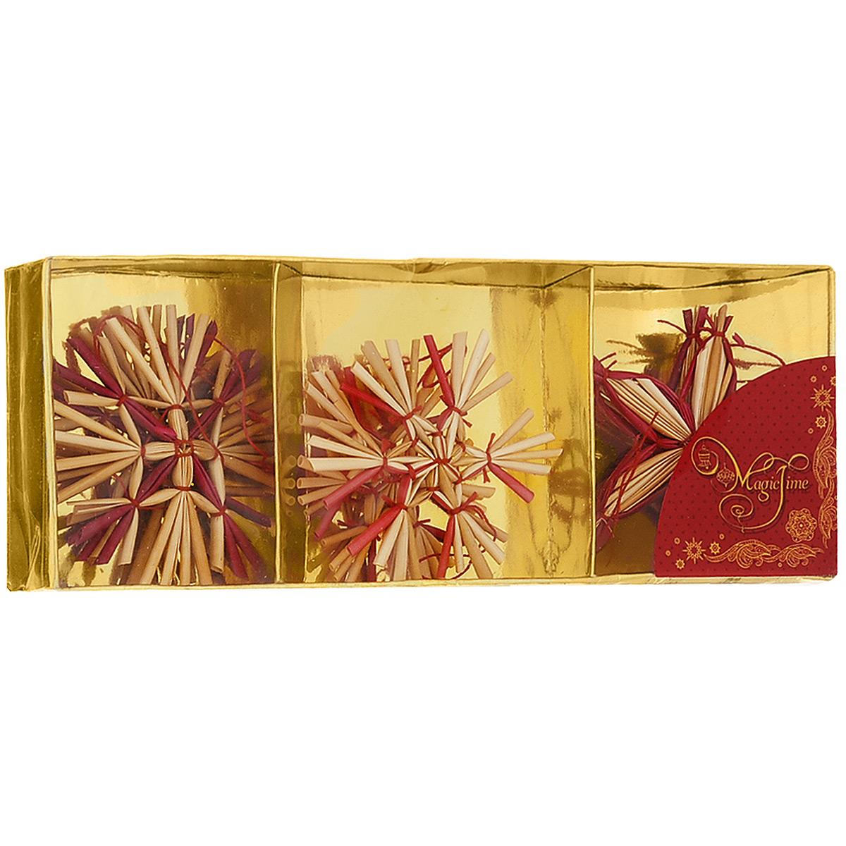 Набор новогодних подвесных украшений Magic Time, цвет: бежевый, красный, 6 шт. 3468834688Набор новогодних подвесных украшений Magic Time, изготовленный из соломки, украсит интерьер вашего дома или офиса в преддверии Нового года. Оригинальный дизайн и красочное исполнение создадут праздничное настроение. Набор состоит из 6 фигурок в форме снежинок разных форм. Украшения отлично подойдут для декорации вашего дома и новогодней ели. Игрушки оснащены специальными петлями для подвешивания.Елочная игрушка - символ Нового года. Она несет в себе волшебство и красоту праздника. Создайте в своем доме атмосферу веселья и радости, украшая всей семьей новогоднюю елку нарядными игрушками, которые будут из года в год накапливать теплоту воспоминаний. Коллекция декоративных украшений из серии Magic Time принесет в ваш дом ни с чем не сравнимое ощущение волшебства!