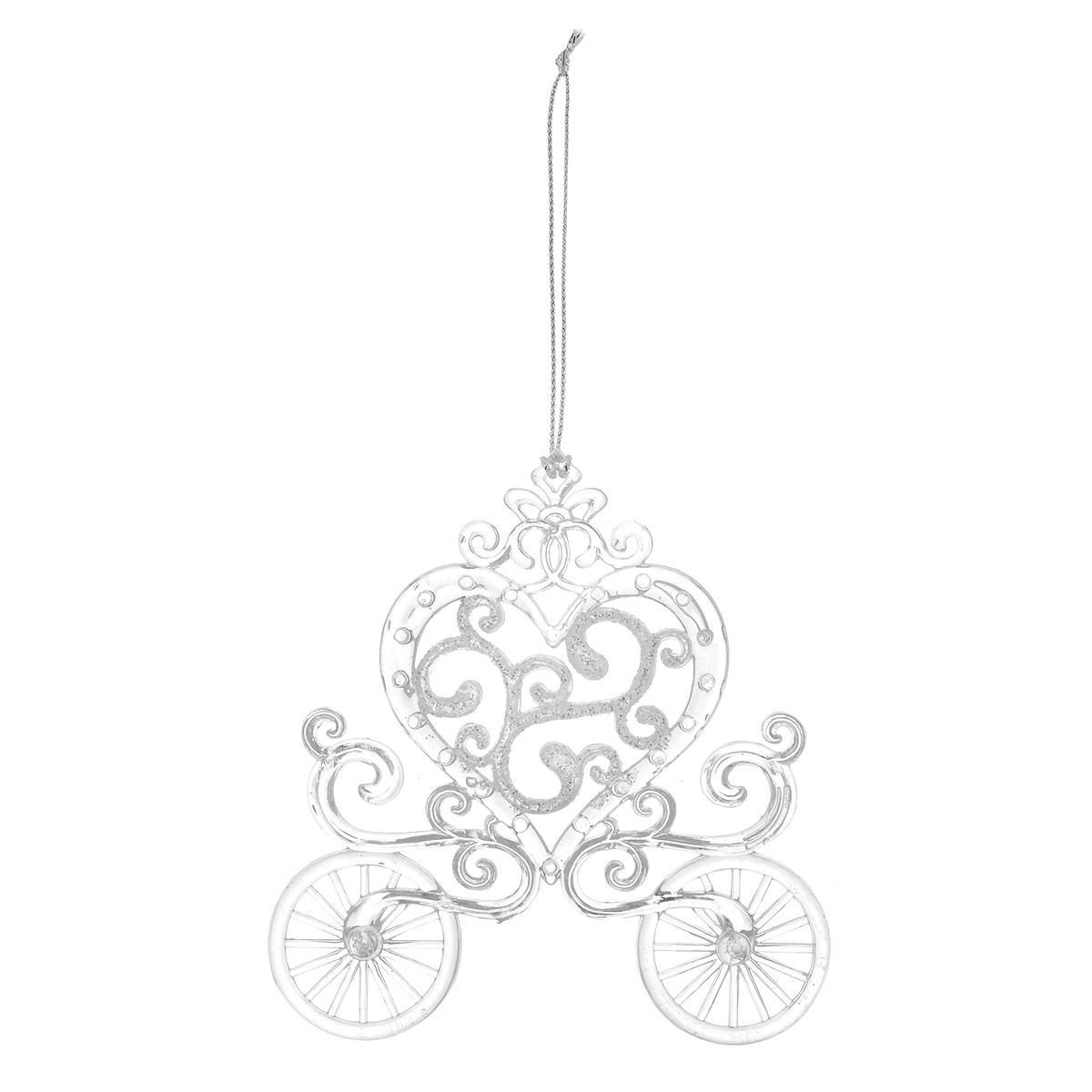 Новогоднее подвесное украшение Карета, цвет: белый. 3503935039