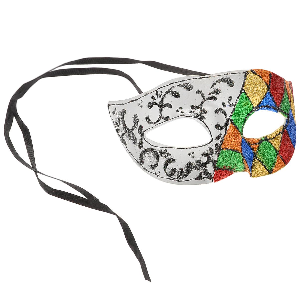 Маска карнавальная Magic Time. 3111131111Изящная карнавальная маска, выполненная из пластика, оформленная разноцветными блестками, внесет нотку задора и веселья в праздник. Одна половина маски украшена изображением ромбов, вторая половина декорирована витыми узорами. Маска станет завершающим штрихом в создании праздничного образа. Карнавальная маска держится при помощи атласных ленточек. В этой роскошной маске вы будете неотразимы.