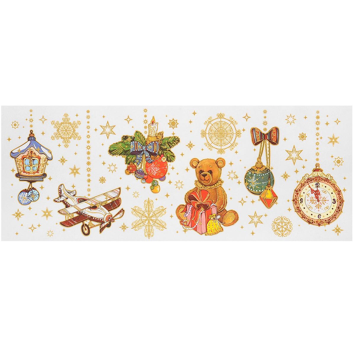 Новогоднее оконное украшение Подвесные игрушки, 54 см х 21 см. 3435834358Новогоднее оконное украшение, изготовленное из пленки ПВХ, поможет украсить дом к предстоящим праздникам. Яркие изображения в виде елочных игрушек, снежинок и ветвей ели, нанесены на прозрачную пленку и крепятся к гладкой поверхности стекла посредством статического эффекта. Рисунки декорированы золотистыми блестками. С помощью этих украшений вы сможете оживить интерьер по своему вкусу. Новогодние украшения всегда несут в себе волшебство и красоту праздника. Создайте в своем доме атмосферу тепла, веселья и радости, украшая его всей семьей.
