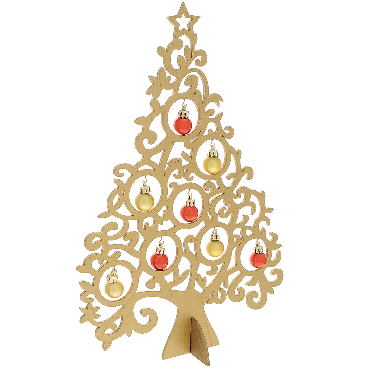 Новогодняя ель с игрушками Ажур, цвет: золотистый, 37 см. 3569535695Новогодняя ель с игрушками Ажур изготовлена из древесины тополя. В комплект к ели прилагаются пластиковые шарики, а также подставка.Красивое новогоднее украшение будет готово, стоит подвесить игрушки на елку. Новогодняя игрушка - символ Нового года. Она несет в себе волшебство и красоту праздника. Создайте в своем доме атмосферу веселья и радости, украшая новогоднюю елку нарядными игрушками, которые будут из года в год накапливать теплоту воспоминаний. Коллекция декоративных украшений принесет в ваш дом ни с чем несравнимое ощущение волшебства! Откройте для себя удивительный мир сказок и грез. Почувствуйте волшебные минуты ожидания праздника, создайте новогоднее настроение вашим дорогим и близким.