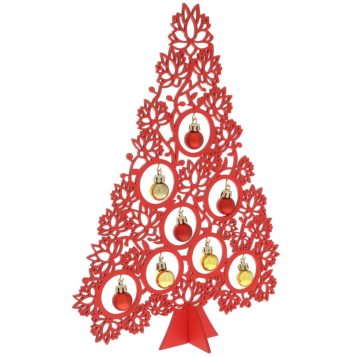 Украшение новогоднее Magic Time Ель с игрушками, цвет: красный, высота 34 см