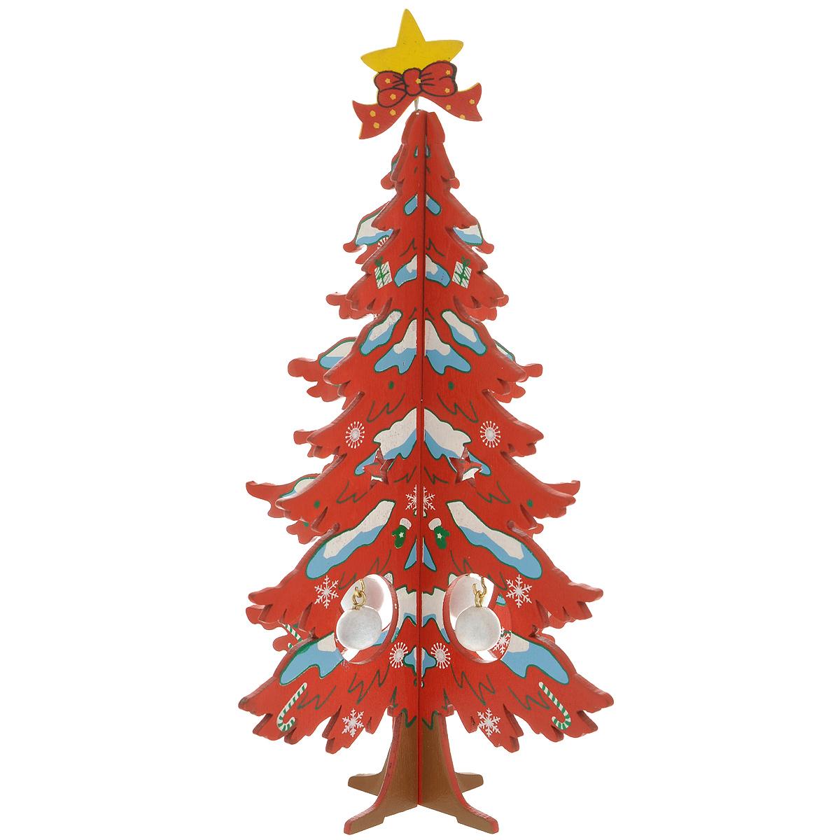 Украшение новогоднее Елочка снежная, цвет: красный, 17 см. 3526135261Украшение Елочка снежная, изготовленное из дерева, отлично подойдет для декорации вашего дома. Украшение выполнено в виде заснеженной ели, которая собирается из двух частей крест-накрест. Елка украшена снежинками, верхушкой-звездой и новогодними шариками, которые подвешиваются на металлические крючки. Новогодние украшения всегда несут в себе волшебство и красоту праздника. Создайте в своем доме атмосферу тепла, веселья и радости, украшая его всей семьей.