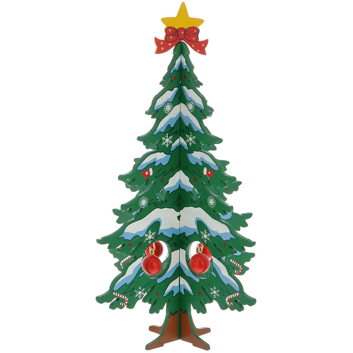 Украшение новогоднее Елочка снежная, цвет: зеленый, 17 см. 3526235262Украшение Елочка снежная, изготовленное из дерева, отлично подойдет для декорации вашего дома. Украшение выполнено в виде заснеженной ели, которая собирается из двух частей крест-накрест. Елка украшена снежинками, верхушкой-звездой и новогодними шариками, которые подвешиваются на металлические крючки. Новогодние украшения всегда несут в себе волшебство и красоту праздника. Создайте в своем доме атмосферу тепла, веселья и радости, украшая его всей семьей.