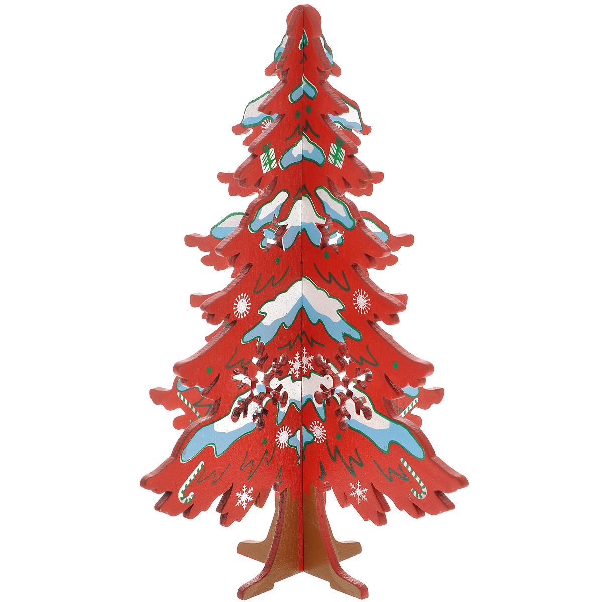 Украшение новогоднее Елочка заснеженная, цвет: красный, 14,5 см. 3569135691Украшение Елочка заснеженная, изготовленное из дерева, отлично подойдет для декорации вашего дома. Украшение выполнено в виде ели, декорированной снежинками и игрушками, которая собирается из двух частей крест-накрест. Новогодние украшения всегда несут в себе волшебство и красоту праздника. Создайте в своем доме атмосферу тепла, веселья и радости, украшая его всей семьей.