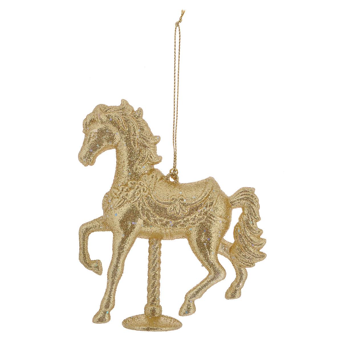 Новогоднее подвесное украшение Феникс-Презент Блестящий конь, цвет: золотистый. 35077 книги эксмо конь и его мальчик