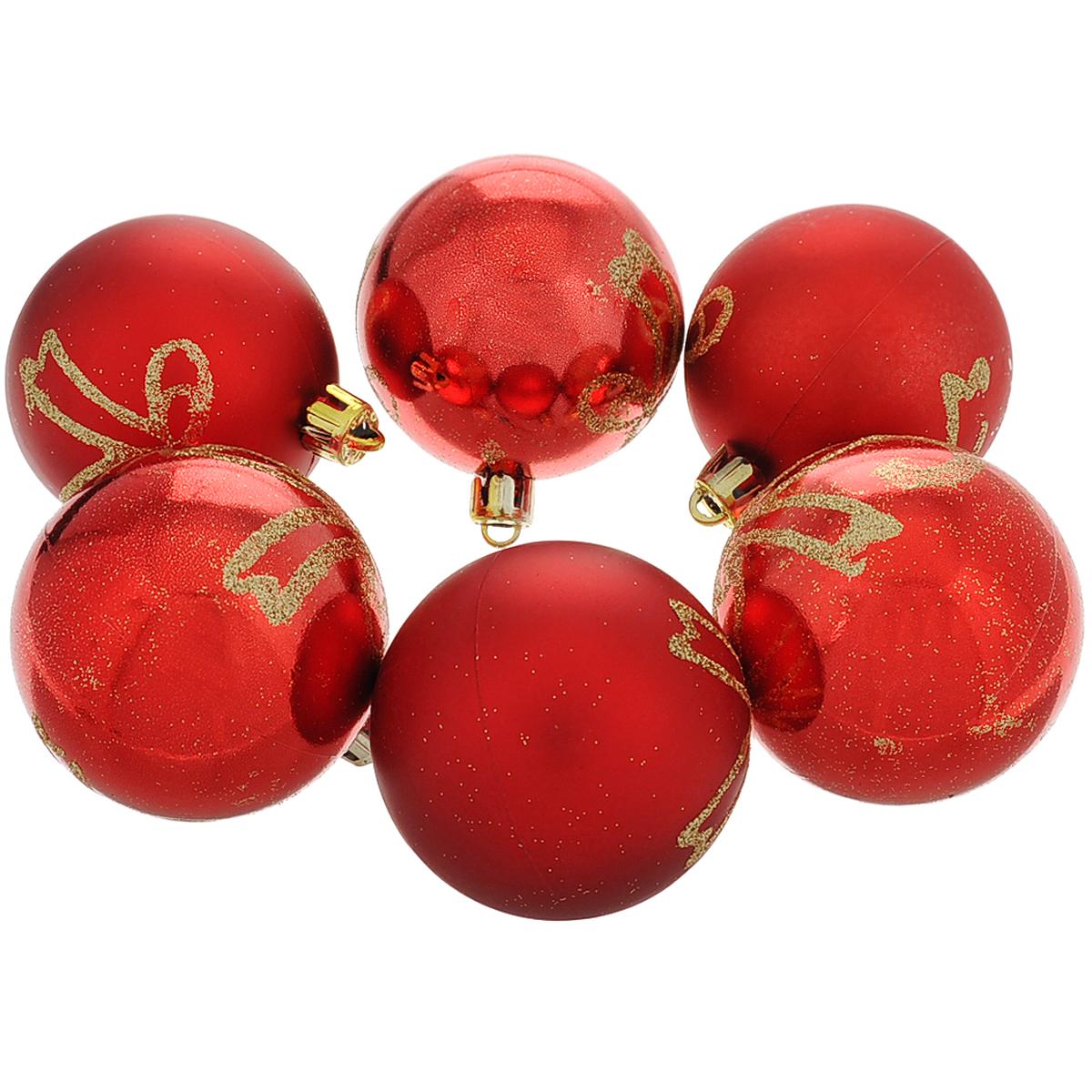 """Набор новогодних подвесных украшений """"Шар"""", цвет: красный, золотистый, диаметр 6 см, 6 шт. 35511"""