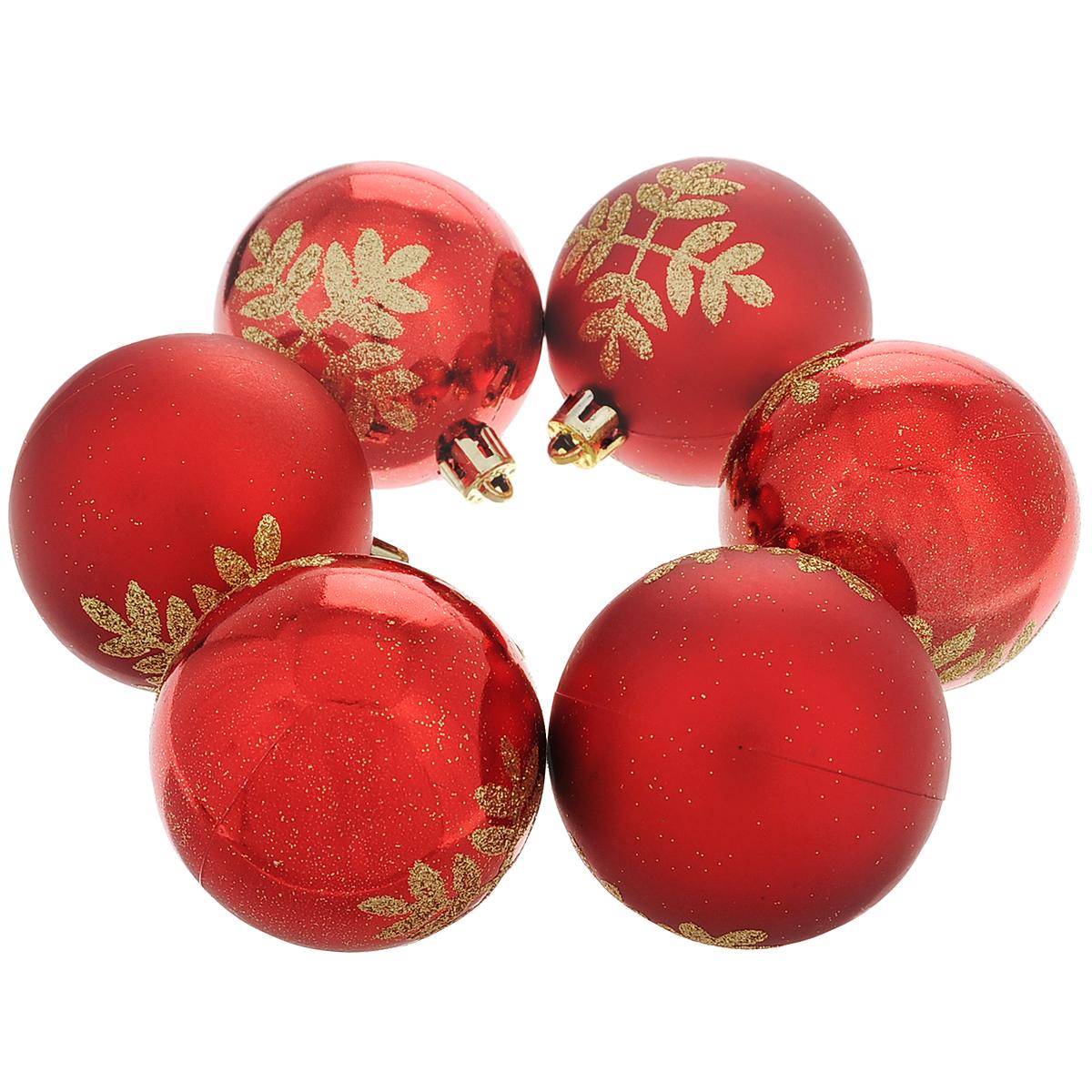 """Набор новогодних подвесных украшений """"Шар"""", цвет: красный, золотистый, диаметр 6 см, 6 шт. 35508"""