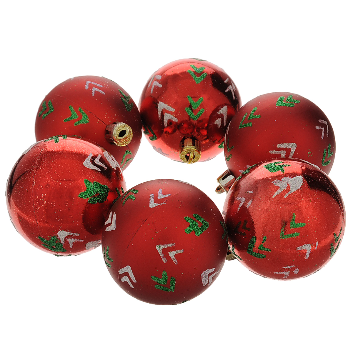 Набор новогодних подвесных украшений Шар, цвет: красный, зеленый, диаметр 6 см, 6 шт. 3550935509Набор новогодних подвесных украшений Шар прекрасно подойдет для праздничного декора новогодней ели. Состоит из шести шаров.Елочная игрушка - символ Нового года. Она несет в себе волшебство и красоту праздника. Создайте в своем доме атмосферу веселья и радости, украшая новогоднюю елку нарядными игрушками, которые будут из года в год накапливать теплоту воспоминаний. Коллекция декоративных украшений принесет в ваш дом ни с чем несравнимое ощущение волшебства! Откройте для себя удивительный мир сказок и грез. Почувствуйте волшебные минуты ожидания праздника, создайте новогоднее настроение вашим дорогим и близким.