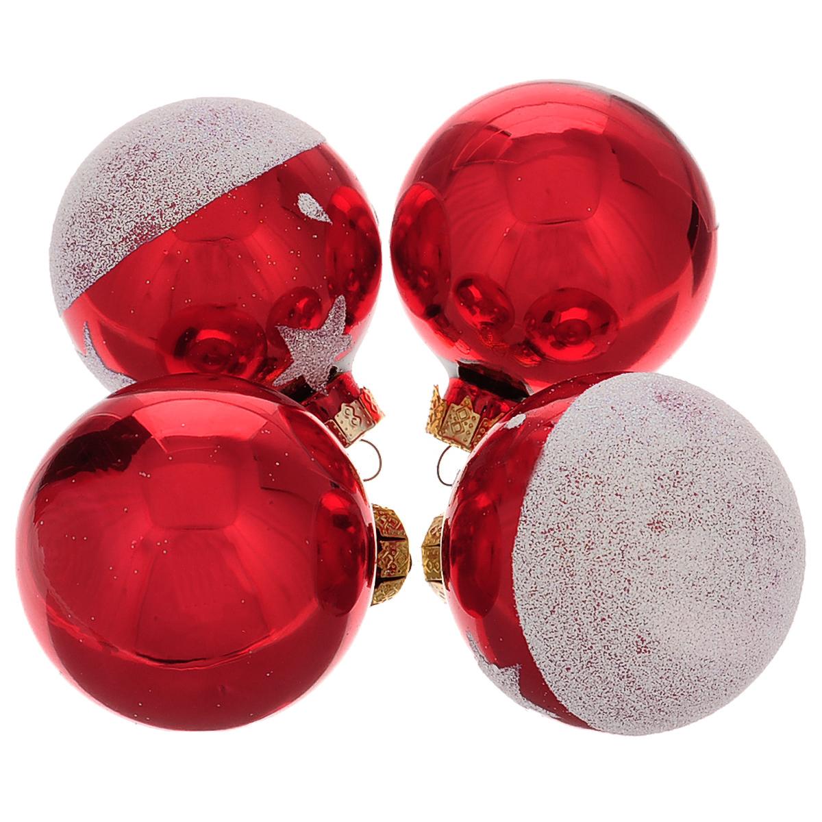 Набор новогодних подвесных украшений Шар, цвет: серебристый, красный, диаметр 6 см, 4 шт. 34484