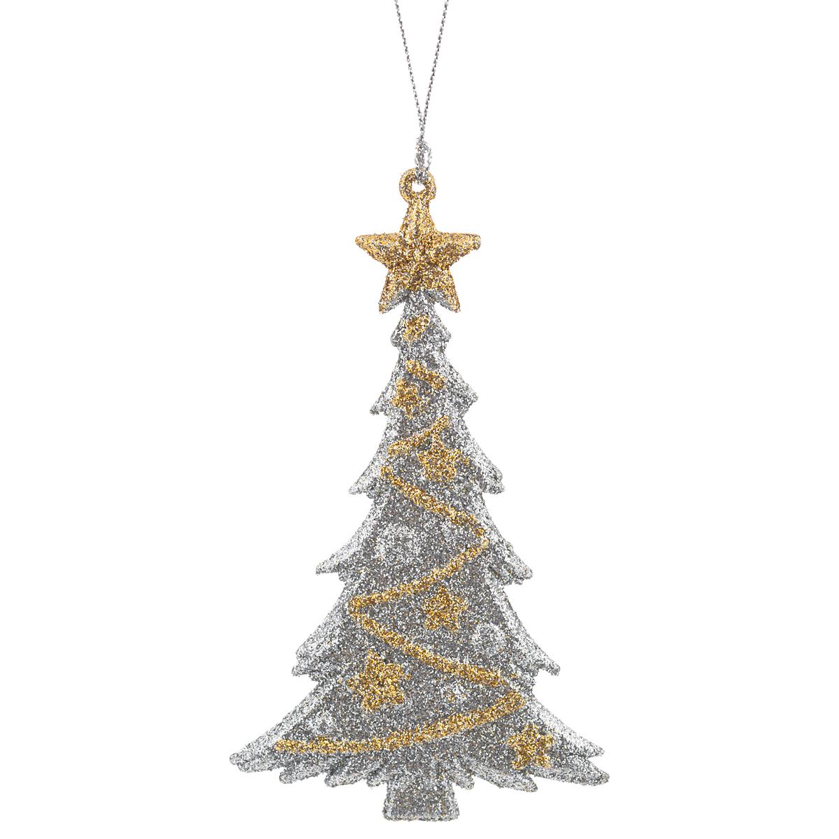 Новогоднее подвесное украшение Елка, цвет: серебристый, золотистый. 3497534975Новогоднее украшение Елка отлично подойдет для декорации вашего дома и новогодней ели. Игрушка выполнена из пластика в виде узорной новогодней елочки. Украшение декорировано блестками и оснащено специальной текстильной петелькой для подвешивания. Елочная игрушка - символ Нового года. Она несет в себе волшебство и красоту праздника. Создайте в своем доме атмосферу веселья и радости, украшая всей семьей новогоднюю елку нарядными игрушками, которые будут из года в год накапливать теплоту воспоминаний.