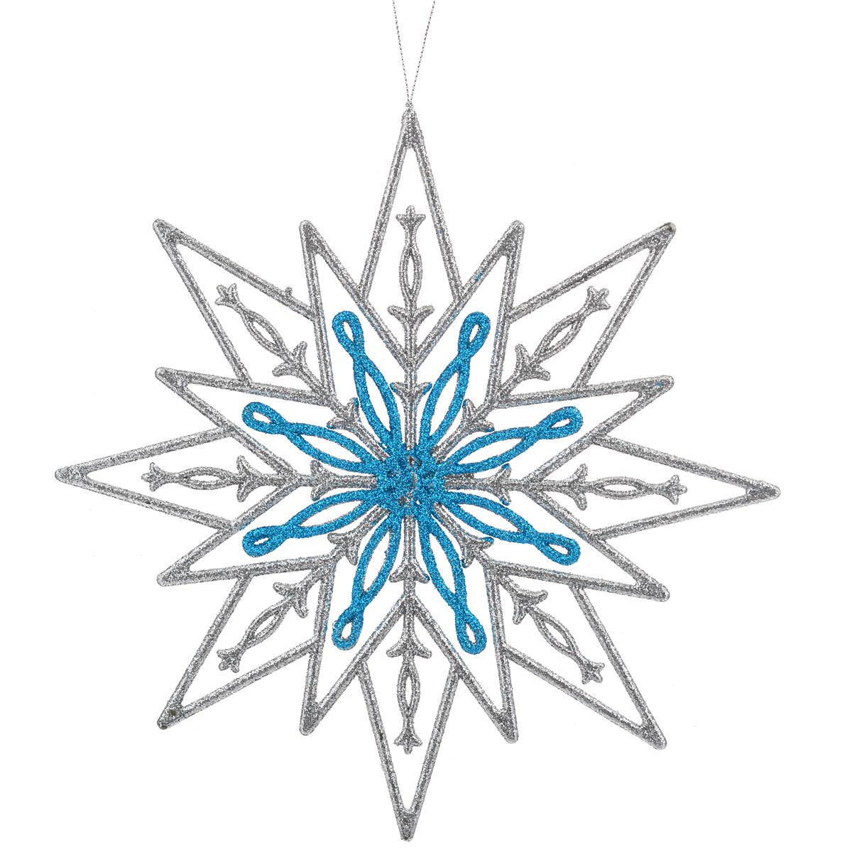 Новогоднее подвесное украшение Феникс-Презент Снежинка. 3499734997Оригинальное новогоднее украшение Феникс-Презент из пластика прекрасно подойдет для праздничного декора дома и новогодней ели. Изделие крепится на елку с помощью веревки.