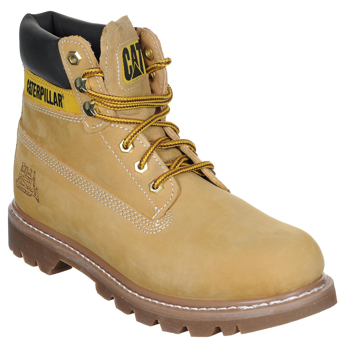 Ботинки мужские Caterpillar Colorado, цвет: светло-коричневый. 44100. Размер 11 (44)44100Стильные мужские ботинки Colorado от Caterpillar надежно защитят вас от холода. Верх выполнен из натурального нубука со вставками из полиуретана. Подкладка изготовлена из мягкого текстильного материала, позволяющего сохранять ваши ноги в тепле. Шнуровка надежно фиксирует модель на ноге. Оформлено изделие по бокам и на язычке нашивками с названием и логотипом бренда, а сбоку на пятке - тиснением в виде бульдозера. Стельки из пластика EVA обеспечивают комфортное положение стопы и амортизацию. Резиновая подошва с крупным протектором обеспечивает хорошее сцепление с поверхностью.Такие ботинки отлично подойдут для каждодневного использования и подчеркнут ваш стиль и индивидуальность.