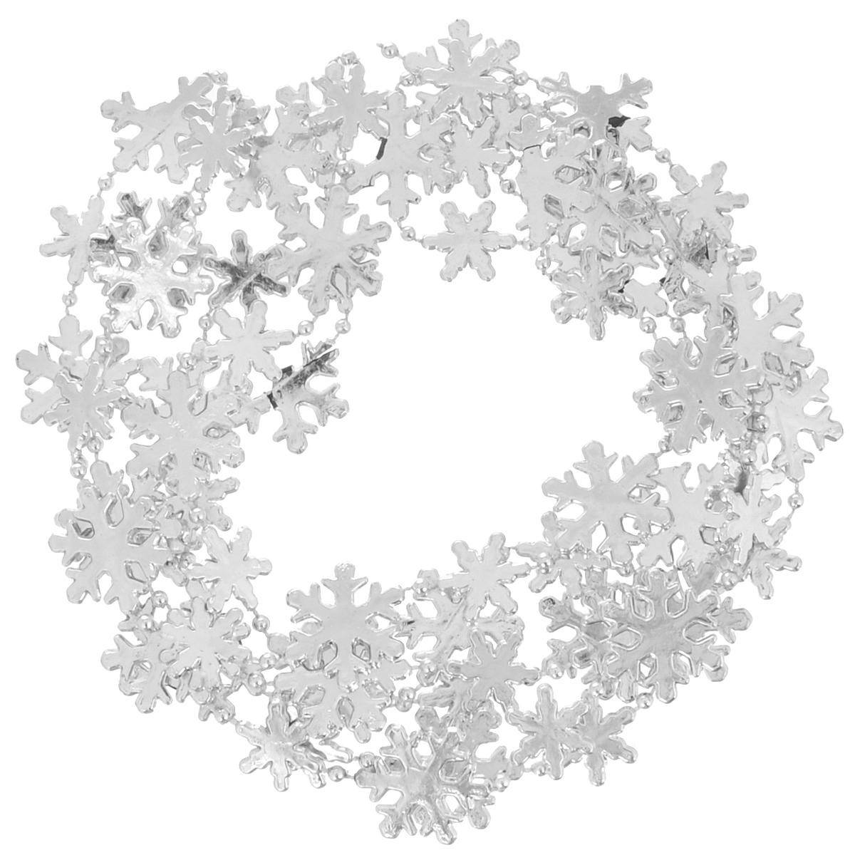 Новогодняя гирлянда Феникс-Презент Снежинки, цвет: серебристый, 2,7 м. 34969 феникс презент