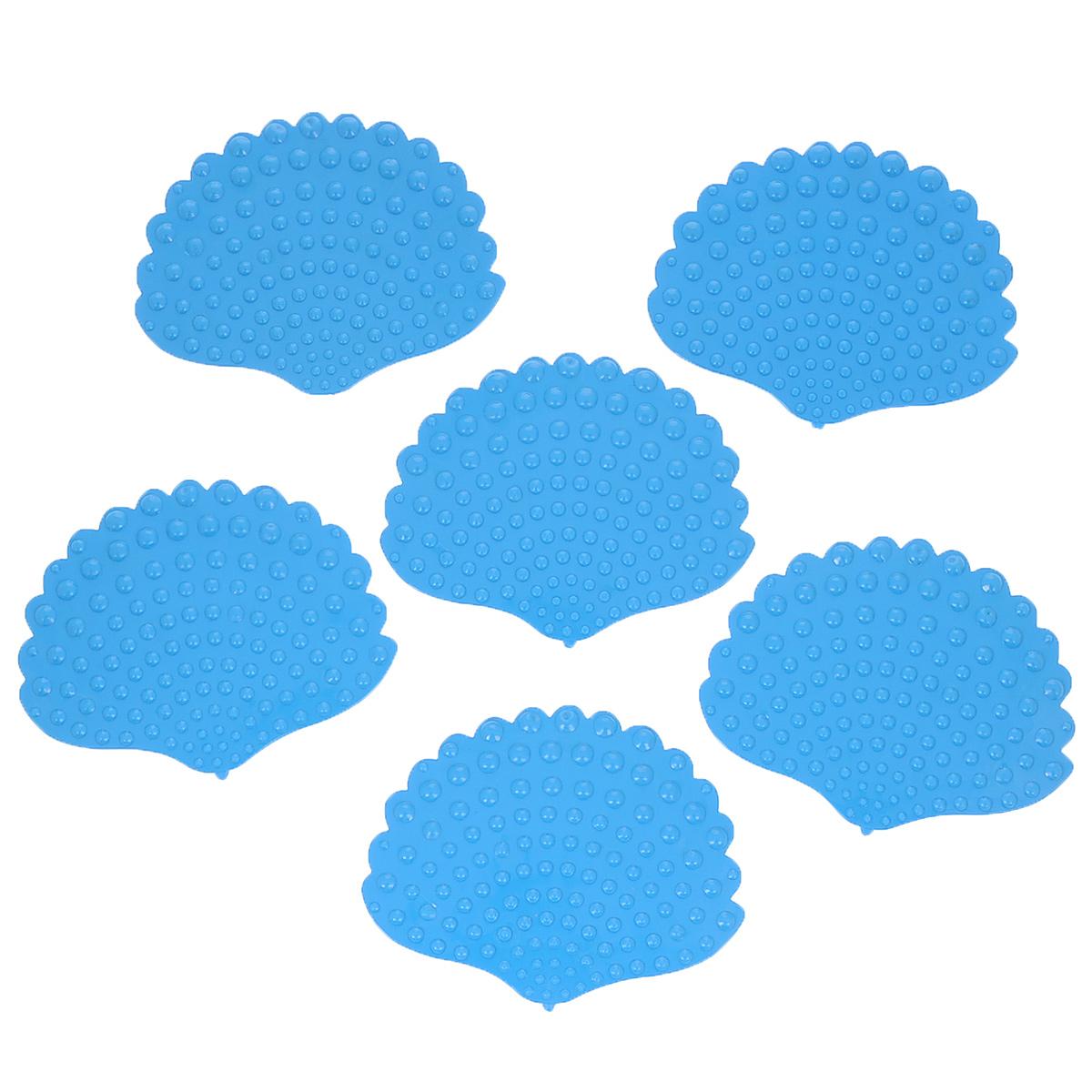 Набор мини-ковриков для ванной Dom Company Ракушка перламутровая, цвет: голубой, 6 шт.837-019Набор Dom Company Ракушка перламутровая состоит из шести мини-ковриков для ванной, изготовленных из 100% полимерных материалов в форме ракушек. Коврики оснащены присосками, предотвращающими скольжение. Их можно крепить на дно ванны или использовать как декор для плитки. Коврики легко чистить.
