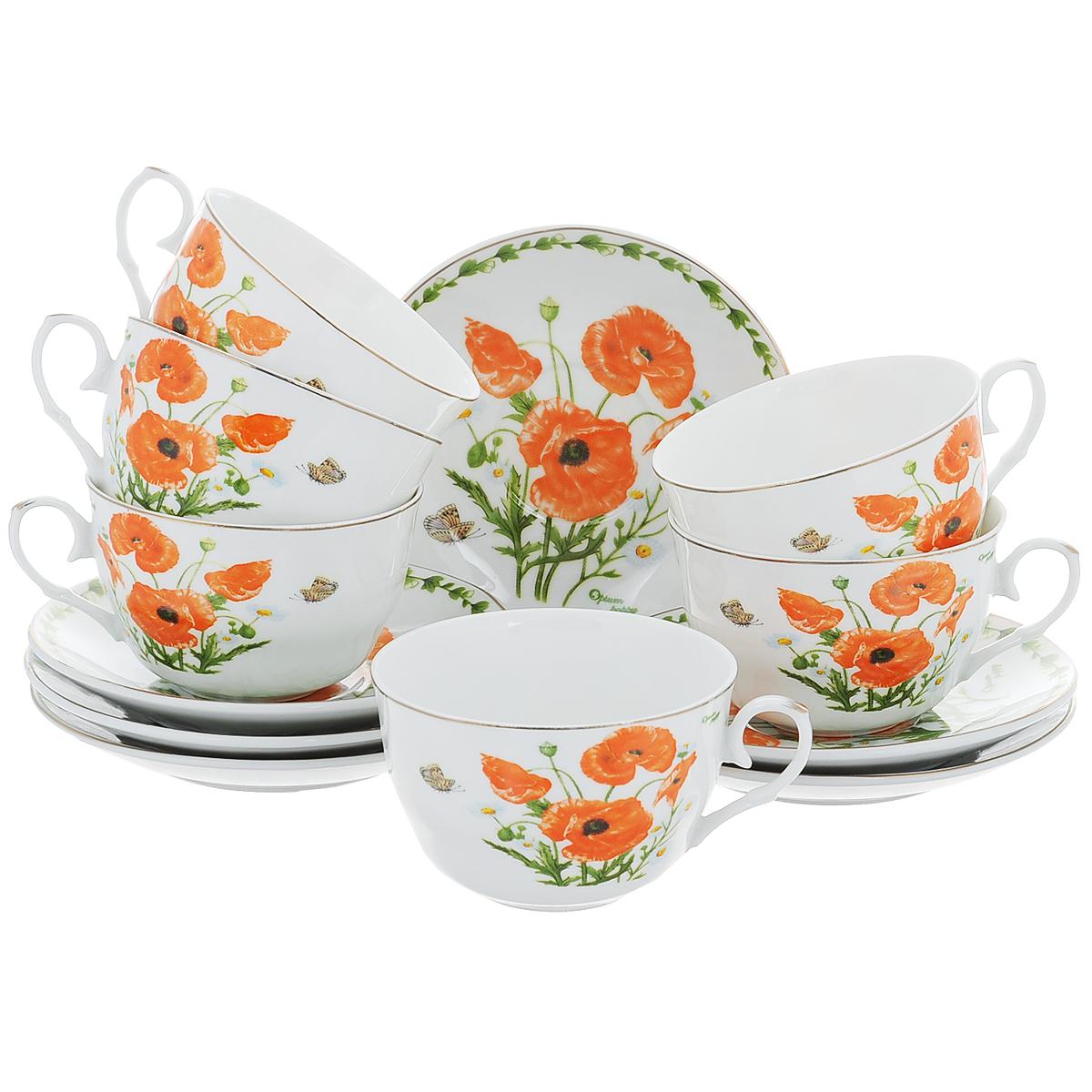 Набор чайный Briswild Маки на поляне, 12 предметов. 543-262543-262Чайный набор Briswild Маки на поляне состоит из шести чашек и шести блюдец. Изделия выполнены из высококачественного фарфора и оформлены красочным цветочным рисунком.Изящный набор красиво оформит стол к чаепитию и станет приятным подарком к любому случаю.Набор упакован в подарочную коробку, внутренняя поверхность которой задрапирована белой атласной тканью. Не использовать в микроволновой печи. Не применять абразивные моющие средства.