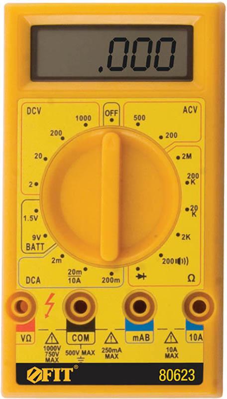 Мультиметр цифровой FIT, 1000 В. 8062380623Мультиметр цифровой FIT оборудован жидкокристаллическим дисплеем. Предназначен для измерения напряжения постоянного тока VDC, напряжения переменного тока VAC, постоянного тока DC и переменного тока АС, сопротивление, проверки диодов, целостности цепи. Это превосходный измерительный прибор, который удобен и прост в эксплуатации. Характеристики: Материал: пластик, металл. Размеры мультиметра: 7 см х 12,5 см х 3 см. Размеры дисплея: 5 см х 1,5 см. Размеры упаковки: 10 см х 14,5 см х 4 см. УВАЖАЕМЫЕ КЛИЕНТЫ!Обращаем ваше внимание на ассортимент в дизайне товара. Поставка осуществляется в зависимости отналичия на складе.