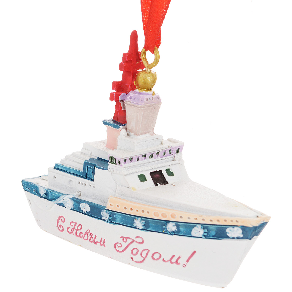 Новогоднее подвесное украшение Феникс-Презент Крейсер, цвет: белый. 34570 феникс презент