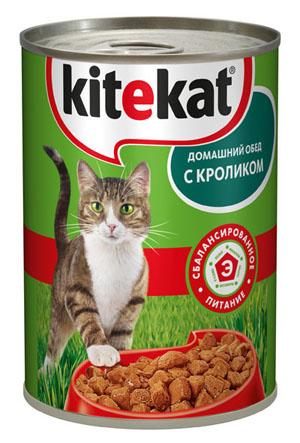 Консервы Kitekat Домашний обед для взрослых кошек, с кроликом, 410 г prevital консервированный корм для кошек prevital classic 100 гр в соусе с телятиной