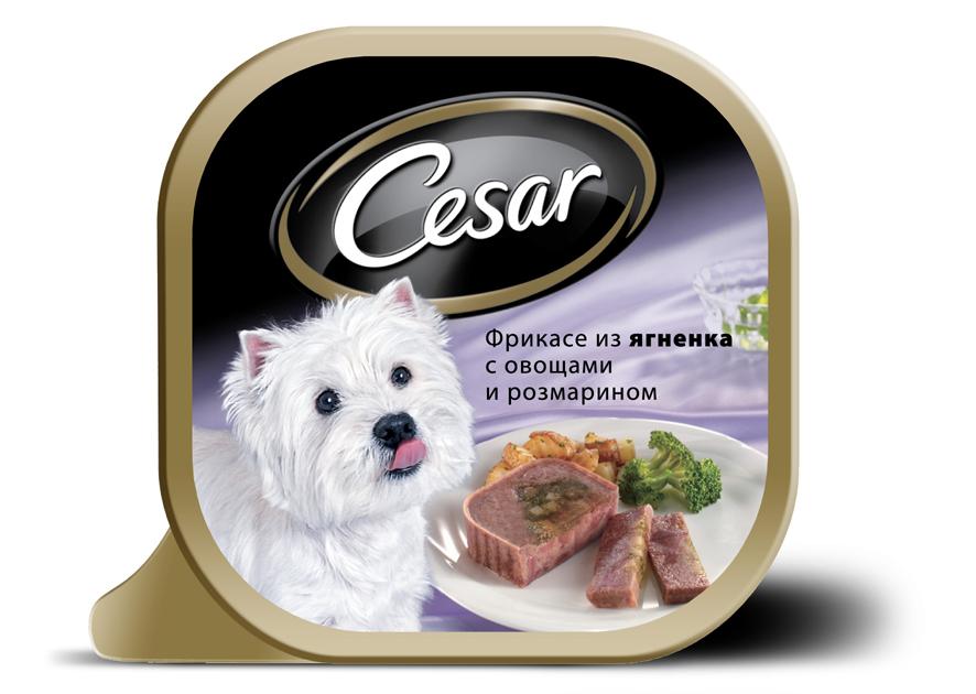 Консервы Cesar, для взрослых собак мелких пород, фрикасе из ягненка с овощами и розмарином, 100 г