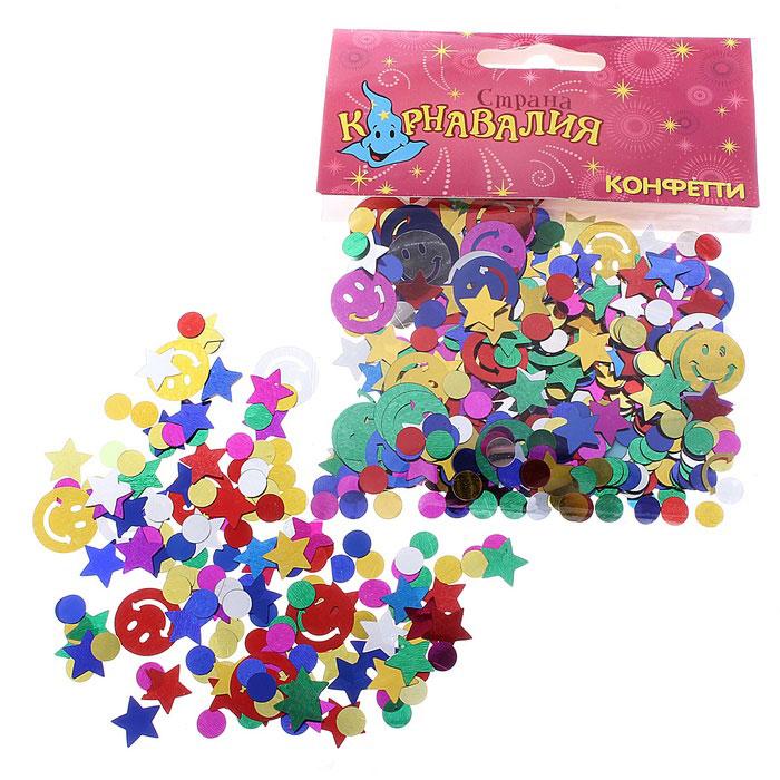 Новогоднее конфетти Sima-land Смайл и звезды, 14 г. 324189324189Новогоднее конфетти Sima-land Смайл и звезды выполнено из высококачественной фольги в форме смайла, звезды и круга.Это чудесное украшение принесет в ваш дом или офис незабываемую атмосферу праздничного веселья! Вес упаковки: 14 г.Материал: фольга.Средний размер: 1 см х 1 см.
