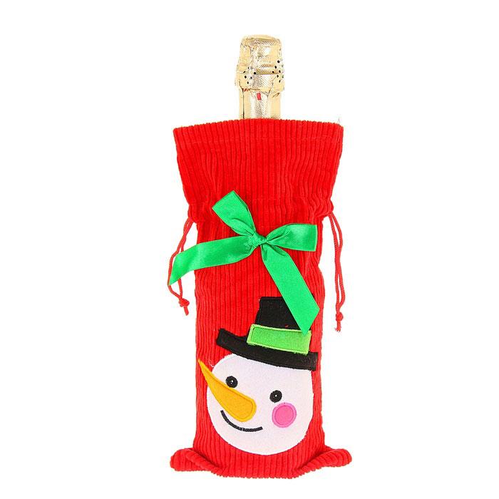 Новогодний чехол на бутылку Sima-land Снеговик, цвет: красный. 333470333470Новогодний чехол на бутылку Sima-land Снеговик послужит оригинальным вариантом оформления бутылки вина или шампанского. Чехол выполнен из текстиля в виде мешка с завязками и декорирован изображением снеговика и бантами. Благодаря такому чехлу даже обычное шампанское превратится в приятный презент.Размер чехла: 19 см х 29 см.