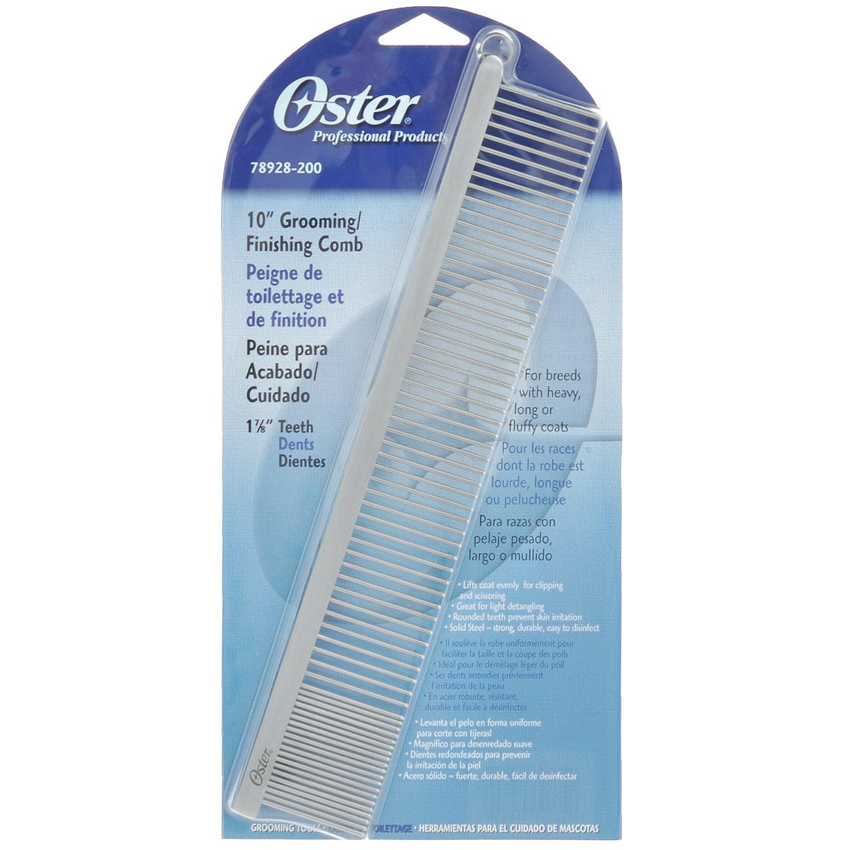 Расческа для животных Oster, длина 25 см078928-200Расческа для животных Oster - это большая металлическая комбинированная расческа с закругленными зубьями. Расческа имеет две частоты зубьев. Гребень предназначен для пород с тяжелой, длинной и пушистой шерстью. Равномерно удаляет отмершие и спутанные волосы, подготавливая шерсть для возможной стрижки. Закругленные зубцы препятствуют повреждению волоса при расчесывании и раздражению кожи. Твердая сталь - крепкая, долговечная и легкая в использовании. Длина зубьев: 3,5 см.Длина расчески: 25 см.Линька под контролем! Статья OZON Гид