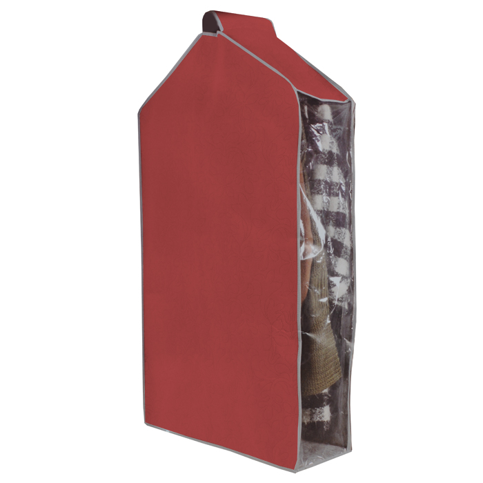 Чехол для одежды Hausmann, подвесной, цвет: вишневый, 57 х 100 х 20 см4C-302Чехол для одежды Hausmann изготовлен из вискозы и оснащен застежкой-молнией. Особое строение полотна создает естественную вентиляцию: материал дышит и позволяет воздуху свободно проникать внутрь чехла, не пропуская пыль. Прозрачная полиэтиленовая вставка сбоку позволит вам видеть одежду, находящуюся в чехле. Верх чехла оснащен петелькой на липучке для подвешивания.Чехол для одежды будет очень полезен при транспортировке вещей на близкие и дальние расстояния, при длительном хранении сезонной одежды, а также при ежедневном хранении вещей из деликатных тканей. Чехол для одежды Hausmann защитит ваши вещи от повреждений, пыли, моли, влаги и загрязнений.