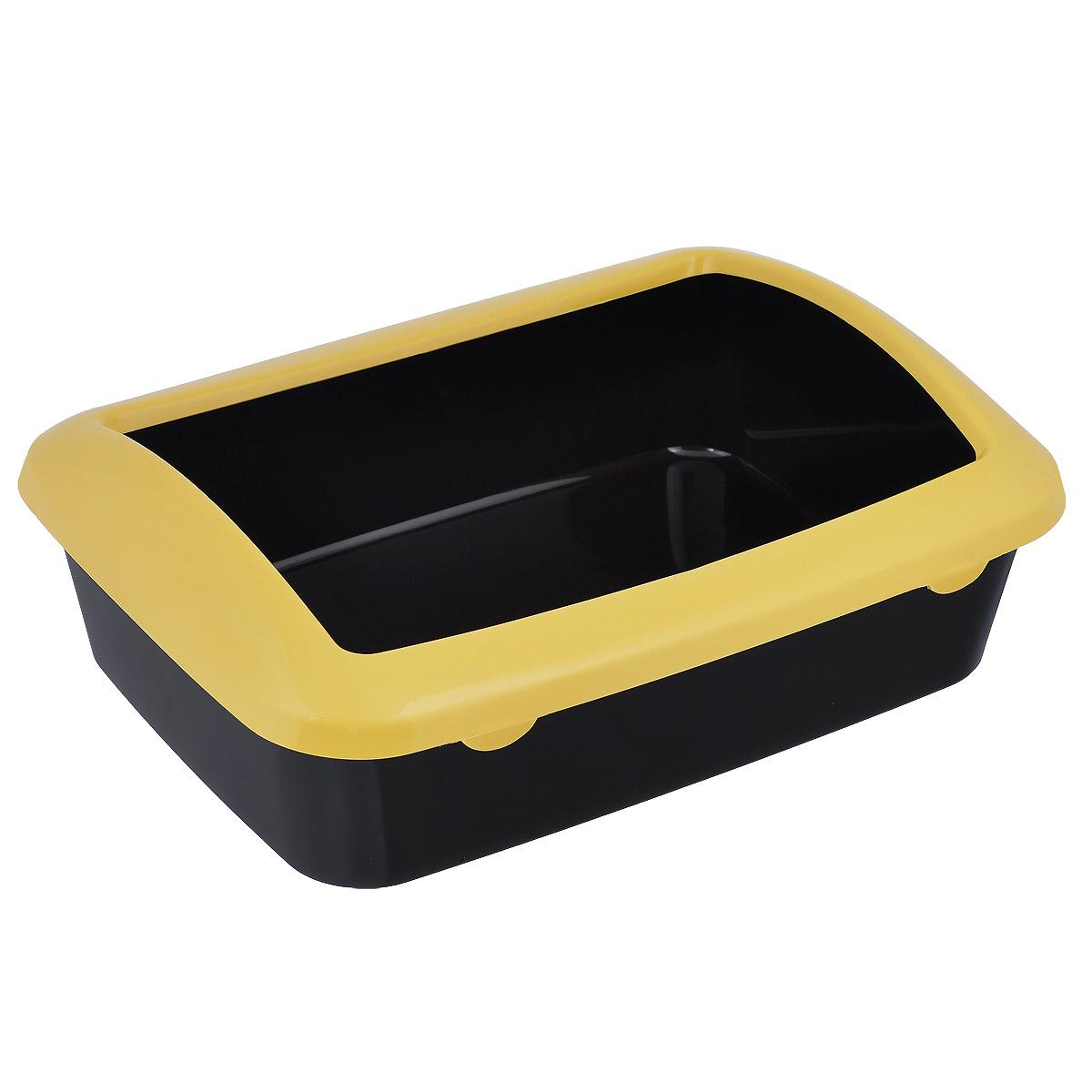 Туалет для кошек Triol, с бортом, цвет: черный, желтый, 42 х 30 х 14,5 см игрушка triol столбик и туннель цвет кремовый коричневый 24 х 21 х 23 см