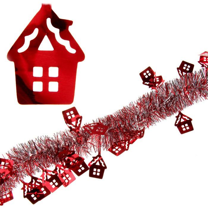 """Мишура новогодняя """"Sima-land"""", цвет: красный, серебристый, диаметр 5 см, длина 2 м. 279374"""
