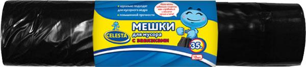 Мешки для мусора Celesta, с завязками, цвет: черный, 35 л, 10 шт825459Мешки для мусора Celesta применяются для хранения и транспортировки бытовых мусорных и продуктовых отходов. Благодаря прочным завязкам мешок очень удобен в использовании. Идеально подходит для мусорного ведра. Имеет повышенную прочность. Мешки быстро и просто отрываются по линии перфорации.Материал: полиэтилен. Объем: 35 л. Количество мешков: 10 шт.