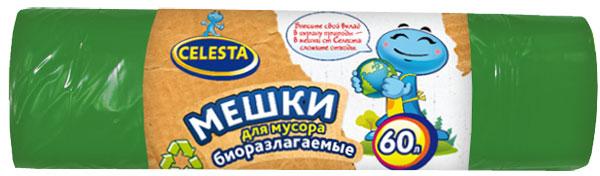 """Мешки для мусора """"Celesta"""", биоразлагаемые, цвет: зеленый, 60 л, 20 шт"""