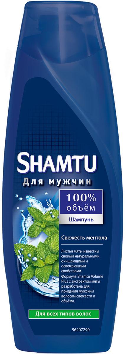"""Shamtu Шампунь """"100% объем. Свежесть ментола"""" для мужчин, для всех типов волос, 360 мл"""