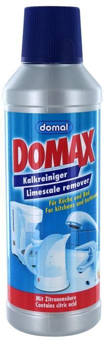 Биоочиститель накипи Domax для всех водонагревательных приборов, 500 мл158061Специально разработанная формула на основе безвредных для человека биологических веществ. Эффективно удаляет накипь в чайниках, кофеварках, посуде, стиральных машинах, а также трудноудаляемые известковые отложения с твердых поверхностей в ванной и на кухне. Не имеет запаха. Регулярное использование Domax улучшит работу и продлит срок службы ваших водонагревательных приборов. Способ применения: Чайники и водонагревательные приборы: налить 1л воды в чайник (резервуар). В зависимости от загрязнения добавить 150-200 мл средства. Нагреть раствор до 50°С и оставить действовать на 30 мин. Затем вылить раствор, тщательно прополоскать и прокипятить емкость.Кофеварки: налить 200 мл воды в резервуар для воды кофеварки и затем 50 мл средства. Включить кофеварку и прогнать около 100 мл раствора. Выключить кофеварку и дать остаткам раствора подействовать около 15 мин. Затем пропустить остатки раствора и дважды прогнать чистой водой. Стиральные машины: в стиральную машину без моющих средств и белья залить 500 мл средства и запустить короткую программу при температуре 60°С.Поверхности арматуры и сантехники: неразбавленное средство налить или нанести влажной тряпкой на очищаемую поверхность. Затем потереть и смыть водой. Для достижения наибольшего блеска протрите поверхность сухой тряпкой после того, как она высохнет. Не применять на чувствительных к кислотам поверхностях: эмали, серебре, мраморе, анодированном алюминии. При использовании в водонагревательных приборах сверьтесь с рекомендациями производителя. Перед применением на твердых поверхностях в ванной или на кухне проверьте средство на незаметном месте. Не применять вместе с хлорсодержащими очистителями.Экологически чистый продукт. Состав (согласно рекомендации ЕС): лимонная кислота, вспомогательные вещества.
