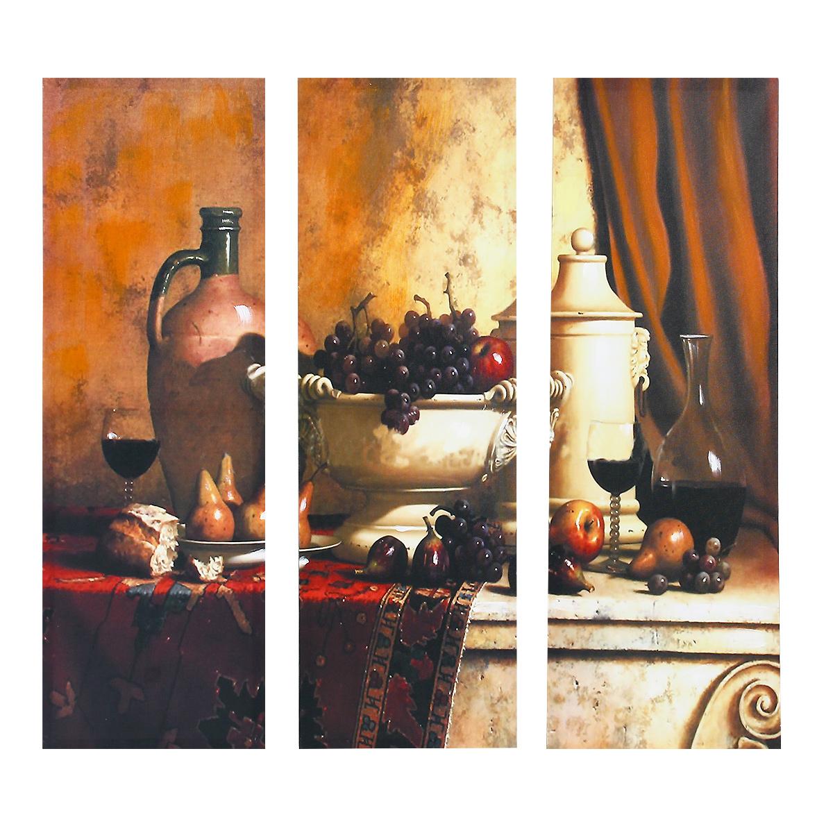 """Картина-репродукция без рамки """"Вино"""" выполнена из натуральной древесины. Техника выполнения - масляная печать на холсте с ручной подрисовкой. Картина состоит из трех частей с изображением винограда и бокалов с красным вином. Такая картина - вдохновляющее декоративное решение, привносящее в интерьер нотки творчества и изысканности! Благодаря оригинальному дизайну картина дополнит интерьер любого помещения, а также сможет стать изысканным подарком для ваших друзей и близких."""