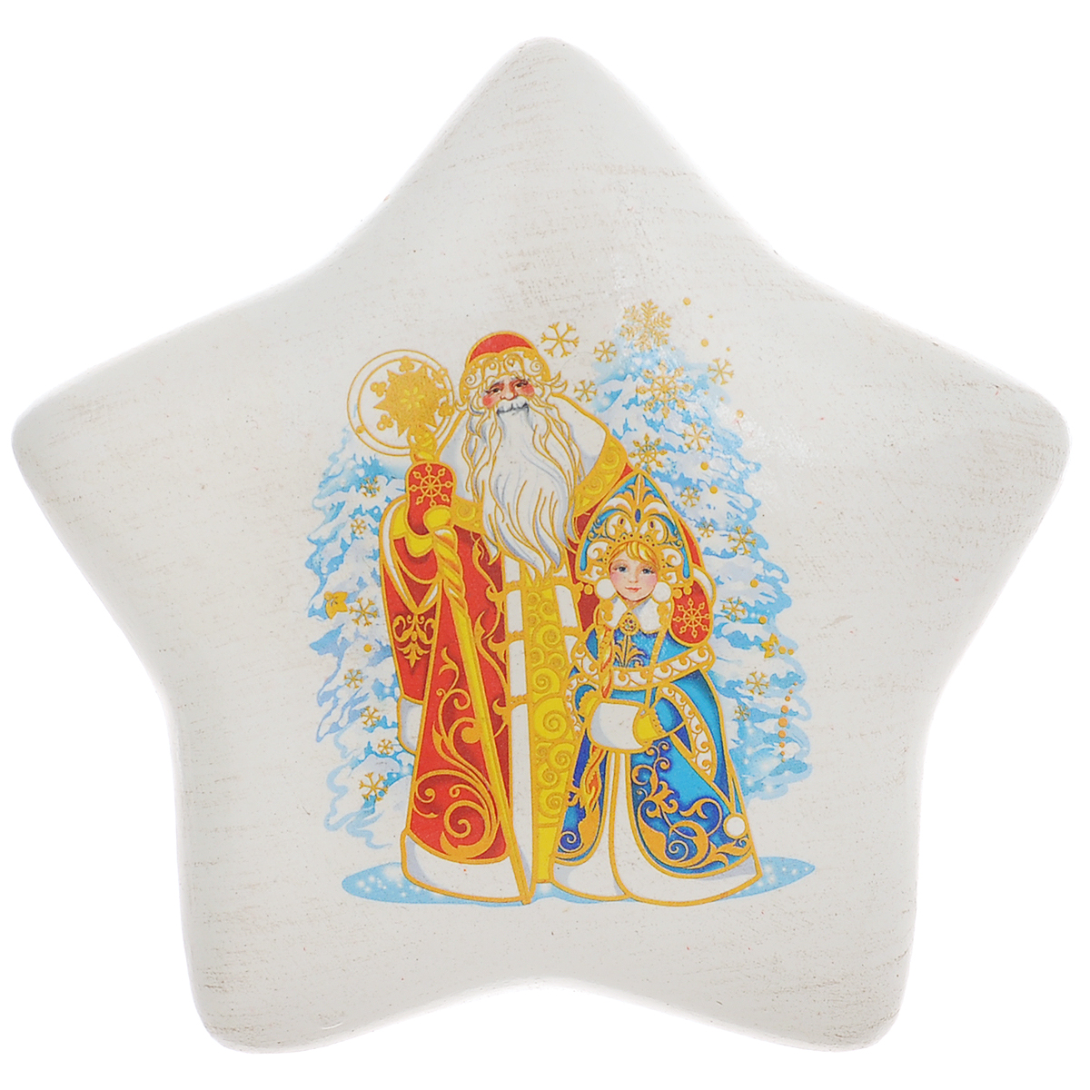 Украшение декоративное Новогодняя звезда. 2606826068Декоративное украшение Новогодняя звезда поможет украсить дом к праздникам. Фигурка выполнена из керамики в форме звезды и оформлена изображением деда Мороза и Снегурочки. Вы можете поставить украшение в любом месте, где оно будет удачно смотреться, и радовать глаз. Так же фигурку можно повесить на стену с помощью специального отверстия.Такое украшение станет великолепным новогодним сувениром.