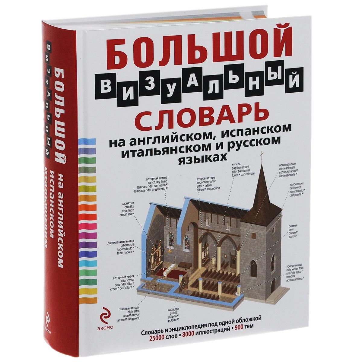 Большой визуальный словарь на английском, испанском, итальянском и русском языках.