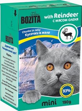 Консервы для кошек Bozita mini, мясные кусочки в желе, с мясом оленя, 190 г консервы для кошек bozita feline с лососем в желе 370 г