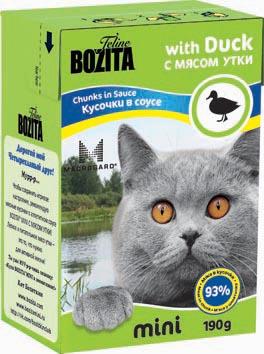 Консервы для кошек Bozita mini, мясные кусочки в соусе, с мясом утки, 190 г консервы для кошек bozita feline с лососем в желе 370 г