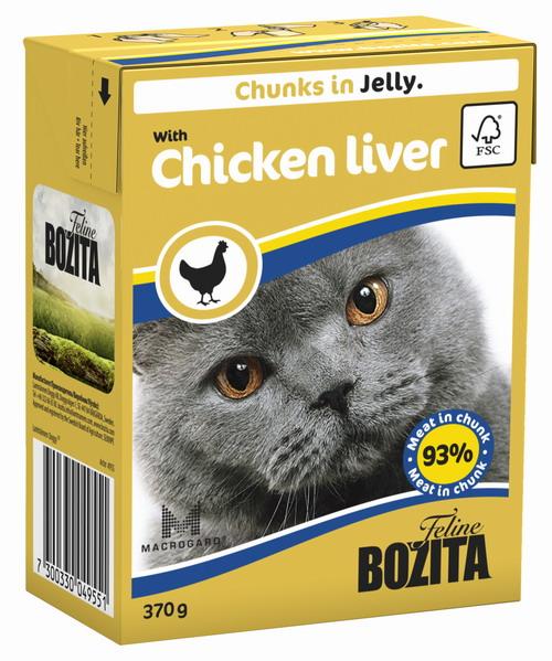 """Консервы для кошек """"Bozita Feline"""", с куриной печенью в желе, 370 г"""