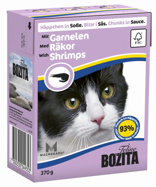 Консервы для кошек Bozita Feline, с креветками в соусе, 370 г консервы для кошек bozita feline с лососем в желе 370 г